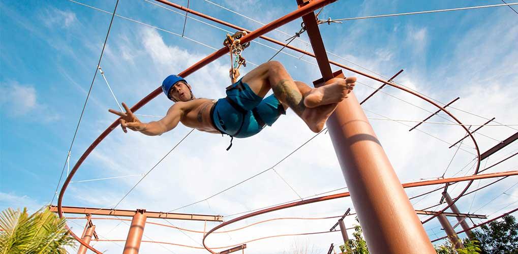 Jungle zip coaster experience at Mayá water park
