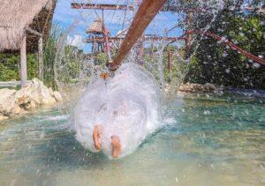 The amazing aquatic landing on the jungle Zip Coaster