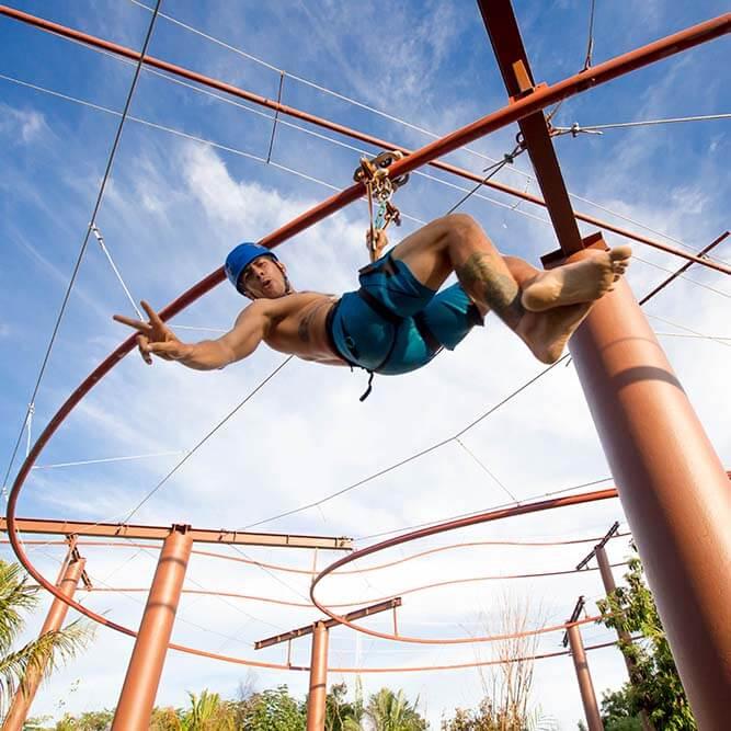 Jungle zip coaster attraction at Mayá water park