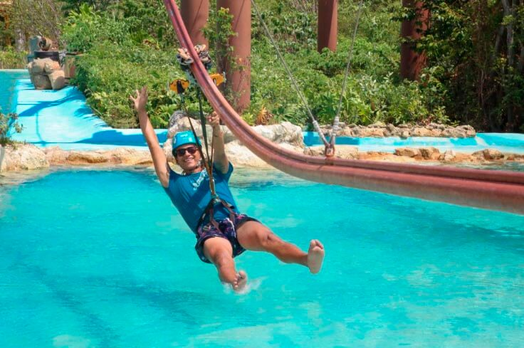 Extreme zip coaster ride at Mayá water park