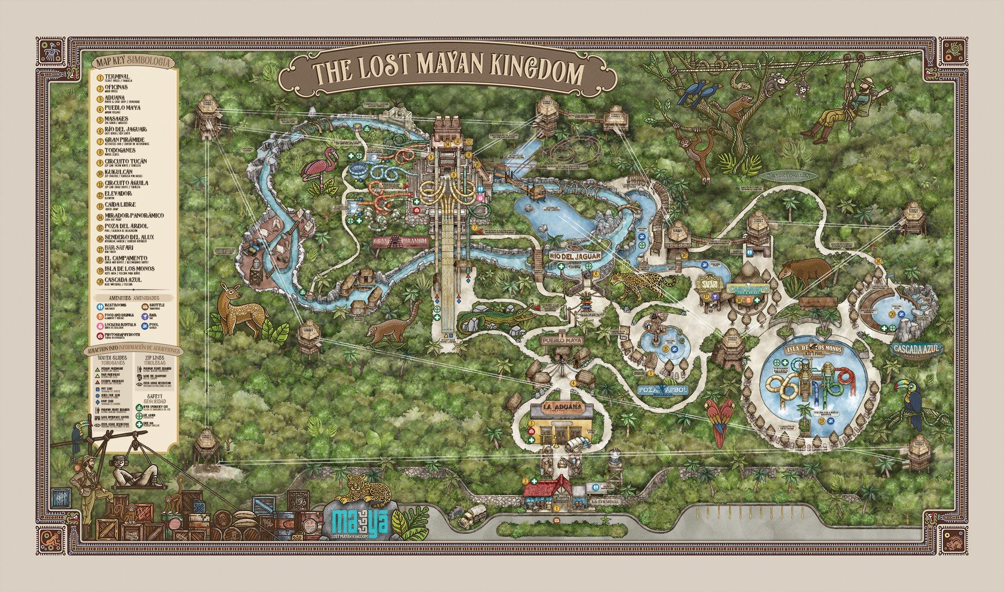 Mapa del Parque Acuático Mayá, El Reino Perdido en Mahahual